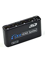 hdmi 1x4 splitter fractura full hd 3d 1.4 una entrada HDMI a 4 de salida hdmi con cable de alimentación para la televisión de alta