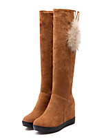 Women's Shoes Fleece Wedge Heel Fashion Boots / Round Toe Boots Dress / Casual Black / Brown / Red