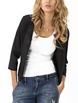Women's Solid Blue / Red / Black / Beige Blazer , Casual Round Neck ¾ Sleeve