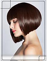 estilo bob pelucas cortas sin tapa cabello humano remy virginal recta mono peluca pelo de arriba