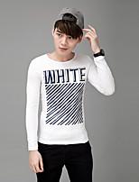 Men's Long Sleeve T-Shirt , Cotton Blend / Elastic Casual / Sport Print