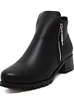 Chaussures Femme - Décontracté - Noir - Gros Talon - Bout Arrondi - Bottes - Similicuir