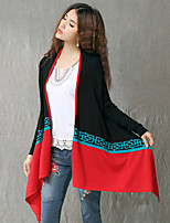 Women's Color Block Blue / Black / Gray Shrug , Vintage / Casual Long Sleeve