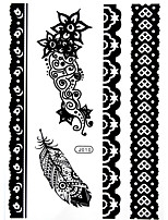 BlackLace Henna Body Temporary Sexy Tattoos Sticker For Women,Teens,Girls(5 Patterns in 1 Sheet) J010