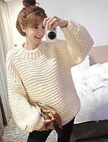 Women's Solid Pink / White / Brown / Gray Pullover , Vintage / Casual Long Sleeve