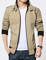 Men's Long Sleeve Jacket , Cotton / Polyester Casual / Sport Pure