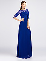Formal Evening Dress - Pool Sheath/Column Jewel Floor-length Chiffon