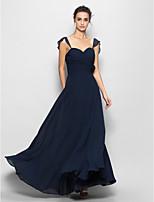 Yer-uzunluğu Şifon Dar / Sütun Sweetheart Nedime Elbisesi Koyu Bahriye