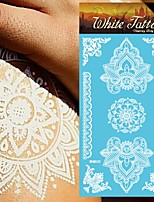 King Horse®Henna Wedding  White Tattoo Stickers  Non Toxic/Wedding /Hawaiian  20.5*10cm Flower Series 5pcs