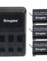 KingMa 3pcs AHDBT-401 Battery 1200mAh+ 3-slot Battery Charger For GoPro Hero 4 Black Silver Battery
