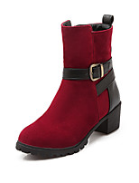 Women's Shoes Chunky Heel Fashion Boots / Round Toe Boots Dress Black / Blue / Red