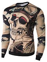 Herren Freizeit T-Shirt  -  Druck Lang Baumwolle / Polyester