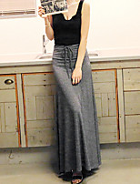 Women's Solid Draw String Split Black / Brown / Gray Skirts , Casual Maxi