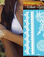 King Horse®5sheets  Wedding  Henna India Tattoo Stickers White   Non Toxic/Wedding /Hawaiian  20.5*10cm Flower