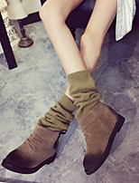 Women's Shoes Leatherette Flat Heel Round Toe Boots Outdoor / Office & Career / Casual Black / Khaki