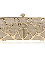 Women Polyester / Metal Minaudiere Clutch / Evening Bag - Gold / Silver / Black