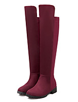 Women's Shoes Leatherette Low Heel Riding Boots / Fashion Boots Boots Outdoor / Casual Black / Red