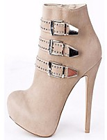 Women's Shoes Fleece Stiletto Heel Bootie Boots Office & Career / Party & Evening / Dress Black / Brown / Red / Beige