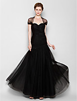 Fit & Flare Plus Sizes / Petite Mother of the Bride Dress - Black Floor-length Short Sleeve Tulle