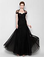 Платье для матери невесты - Черный Силуэт Fit&Flare Длина до пола Короткие Тюль