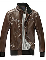 Men's Long Sleeve Jacket , Polyester / PU Casual Pure