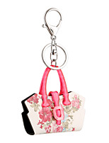 2016 Pink Acrylic Flowers Key Chain Flower Bag Jewelry Handbag Car Keychain Women Holder Key Ring Wholesale Gift
