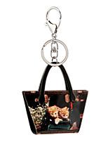 2016 Black Acrylic Key Chain Cartoon Painting Jewelry Handbag Car Keychain Women Holder Key Ring Wholesale Gift