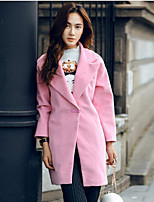 Women's Solid Pink Coat , Vintage Long Sleeve Polyester / Wool Blends