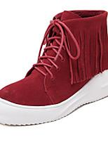 Zapatos de mujer - Tacón Cuña - Punta Redonda - Botas - Casual - Ante - Negro / Rojo / Gris