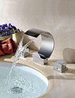 Contemporary Brass Two Handles 3-Hole Waterfall Basin Faucet Chrome Finish