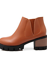 Women's Shoes Leatherette Chunky Heel Heels / Fashion Boots Heels / Boots Outdoor / Casual Black / Yellow / Beige