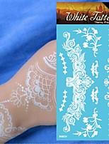 King Horse®Henna  Wedding  Henna India Tattoo Stickers White   Non Toxic/Wedding /Hawaiian  20.5*10cm Flower Series 5pcs