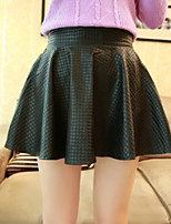 Women's Solid Black Skirts , Casual Above Knee