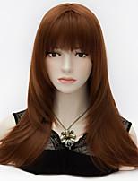purecas européen longue ligne droite cheveux pleins bang auburn partie vogue lolita synthétique couches de style femmes élégantes perruque