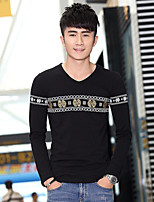 Men's Long Sleeve T-Shirt , Cotton Casual Print