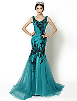 Formal Evening Dress - Jade Trumpet/Mermaid V-neck Court Train Tulle