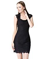 שמלה לשושבינה  - שחור נדן / טור - רצועות - קצר / מיני - תחרה / ריון (משי מלאכותי)