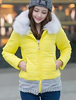 Women's Patchwork Color Block Down Coat , Casual / Work Hooded Long Sleeve