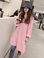 Women's Solid Pink Dress , Casual Long Sleeve