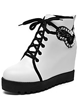Women's Shoes PU Fall / Round Toe Boots Office & Career / Casual Wedge Heel Sparkling Glitter Black / Pink / White