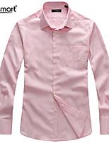 Lesmart Men's Pure Color Fashion Leisure Cotton Long Sleeve Shirt