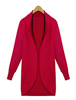 Women's Solid Red / Black Cardigan , Casual Long Sleeve