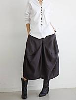 Women's Solid Coffee Skirts , Casual Midi