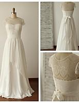 웨딩 드레스 - 아이보리(색상은 모니터에 따라 다를 수 있음) A 라인 바닥 길이 보석 쉬폰 / 레이스