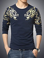 Men's Long Sleeve T-Shirt , Cotton Blend Casual / Sport Print