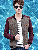 Men's Long Sleeve Jacket , Polyester Casual / Sport Pure