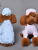 FUN OF PETS® Cute Bear Pattern Cotton Pajamas with Nightcap for Pets Dogs (Assorted Sizes and Colours)