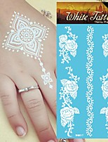 King Horse® India  White Tattoo Stickers  Non Toxic/Hawaiian/Waterproof Flower Series Paper 5pcs 20.5*10cm