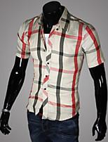 Men's Short Sleeve Shirt , Cotton Blend Casual Plaids & Checks
