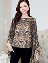 Women's Animal / Leopard Brown / Gray Shrug , Casual / Cute / Work ½ Length Sleeve